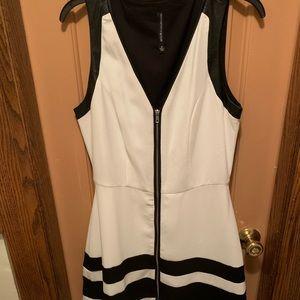 Sporty fresh white and black flair mini dress